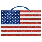 "Amscan MDF Glitter Flag Sign, 13"" x 20"", Red/White/Blue, 3/Pack (241034)"