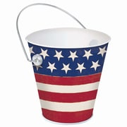 "Amscan Americana Flag Metal Bucket, 4"", Red/White/Blue, 6/Pack (430309)"