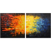 Omax Decor Graphic Display of Colors 2 Piece Original Painting on Canvas