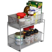 YBM Home 2 Tier Mesh Roll Out Cabinet Organizer Drawer