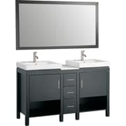 MTDVanities Belarus I 60'' Double Sink Bathroom Vanity Set with Mirror; Espresso
