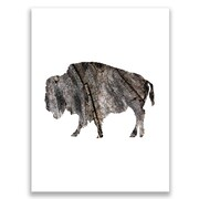 Jetty Home 10'' H x 8'' W Wood Bark Bison Painting Print