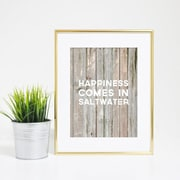 Jetty Home 10'' H x 8'' W Happiness Comes in Saltwater Wood Textual Art Print