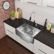 Vigo 33 inch Farmhouse Apron Single Bowl 16 Gauge Stainless Steel Kitchen Sink; Yes
