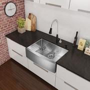 Vigo Alma 33 inch Farmhouse Apron Single Bowl 16 Gauge Stainless Steel Kitchen Sink; Yes