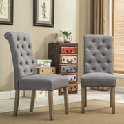 Roundhill Furniture Habit Parsons Chair (Set of 2); Gray