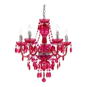 AF Lighting 5-Light Crystal Chandelier; Hot Pink