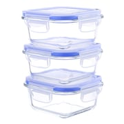 Kinetic Go Green Glasslock Elements 27 Oz. Square Oven Safe Glass Food Storage Container (Set of 3)