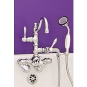 Strom Plumbing by Sign of the Crab Double Handle Wall Mount Faucet w/Handheld Shower; Matte Nickel