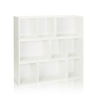 Way Basics Eco-Friendly 9 Stackable Oxford Storage Cubby, White - Lifetime Warranty