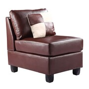 Glory Furniture Armless Chair; Suede - Brown
