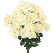 AdmiredbyNature Artificial Blooming Veined Satin Rose Flowers Bush; Cream