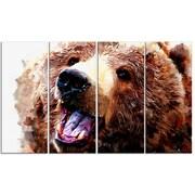 DesignArt Metal 'Happy Brown Bear' Painting Print