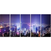 DesignArt Metal 'Hong Kong Night City' Photographic Print