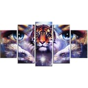 DesignArt Metal 'Tiger w/ Woman Eyes' Painting Print