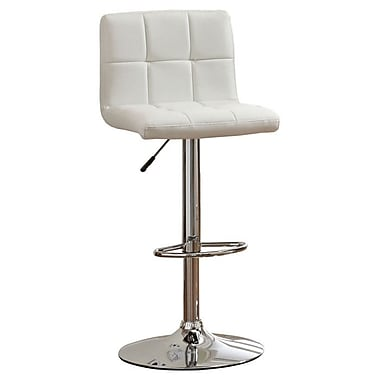 Hokku Designs Pure Adjustable Height Swivel Bar Stool with Cushion; White
