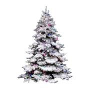 Vickerman Flocked Alaskan 3' White Artificial Christmas Tree with 100 Dura-Lit Multi-Colored Lights