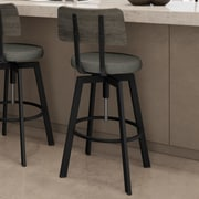 Amisco Symmetry Adjustable Height Bar Stool with Cushion; Black Metal / Gray