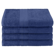 Simple Luxury Superior Bath Towel (Set of 4); Navy Blue