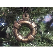 Handcrafted Nautical Decor Cast Iron Lifering Christmas Ornament; Antique Gold