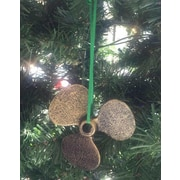 Handcrafted Nautical Decor Cast Iron Propeller Christmas Ornament; Antique Gold