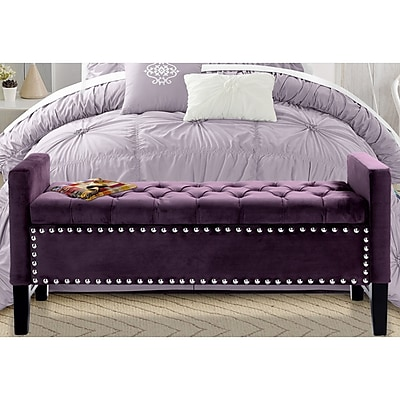 Iconic Home Lance Upholstered Storage Bedroom Bench; Plum WYF078278938632