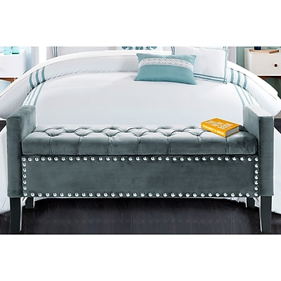 Iconic Home Lance Upholstered Storage Bedroom Bench; Slate Blue WYF078278938633