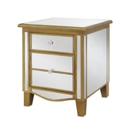 Convenience Concepts Inc. Gold Coast Park Lane Mirrored End Table End Mirror/Gold (413551G)