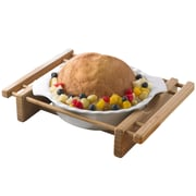 Creative Home Bamboo and Stoneware Grand Buffet Pie Pan Bakeware Dish with Bamboo Cradle