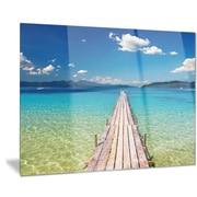DesignArt Metal 'Wooden Pier in Tropical Paradise' Photographic Print; 28'' H x 36'' W