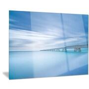 DesignArt Metal 'Industrial Pier in the Sea' Photographic Print; 12'' H x 28'' W