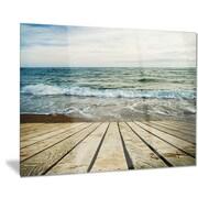 DesignArt Metal 'Wooden Pier in Waving Sea' Photographic Print; 28'' H x 36'' W