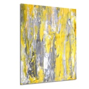 DesignArt Metal 'Gray and Yellow Abstract' Painting Print; 28'' H x 36'' W