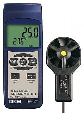 REED Instruments SD-Series Thermo-Anemometer Datalogger, Vane Probe (SD-4207) 2313753