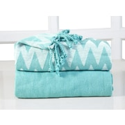 Affinity Home Collection Chevron Cotton Throw Blanket (Set of 2); Turquoise