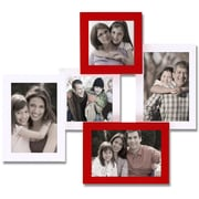 AdecoTrading 5 Opening Decorative Wall Hanging Collage Picture Frame; White/Red