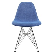 eModern Decor Woven Fabric Upholstered Side Chair; Blue