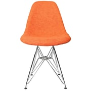 eModern Decor Woven Fabric Upholstered Side Chair; Orange