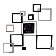 DesignArt Joined by Time - Modern Black and Mirror Wall Art Clock
