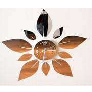 DesignArt Blossom in Time - Modern Mirror Floral Wall Art Clock