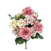 AdmiredbyNature 14 Stems Artificial Blooming Rose and Hydrange Ivy Mix Flowers Bush; Rose Mix