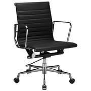 Edgemod High-Back Leather Executive Office Chair with Arms; Black