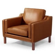 Kardiel Monroe Mid Century Modern Leather Guest Club Chair; Canyon