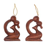 Novica Couple Kissing Hand Carved Suar Wood Ornaments (Set of 2)