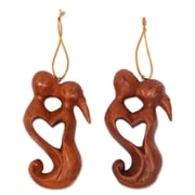 Novica Kissing Couple Heart Hand Carved Suar Wood Ornament (Set of 2)