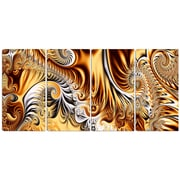 DesignArt Metal 'Gold/Silver Ribbons Abstract' 4 Piece Graphic Art Set