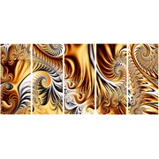 DesignArt Metal 'Gold/Silver Ribbons Abstract' 5 Piece Graphic Art Set
