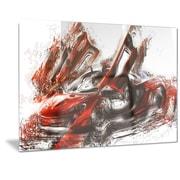 DesignArt Metal 'Burnt Red Sports Car' Graphic Art; 12'' H x 28'' W
