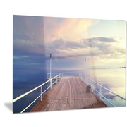 DesignArt Metal 'Pier Under Bright Sky' Photographic Print; 12'' H x 28'' W