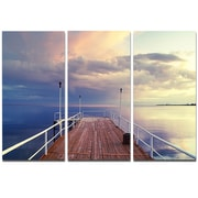DesignArt Metal 'Pier Under Bright Sky' Photographic Print; 28'' H x 36'' W